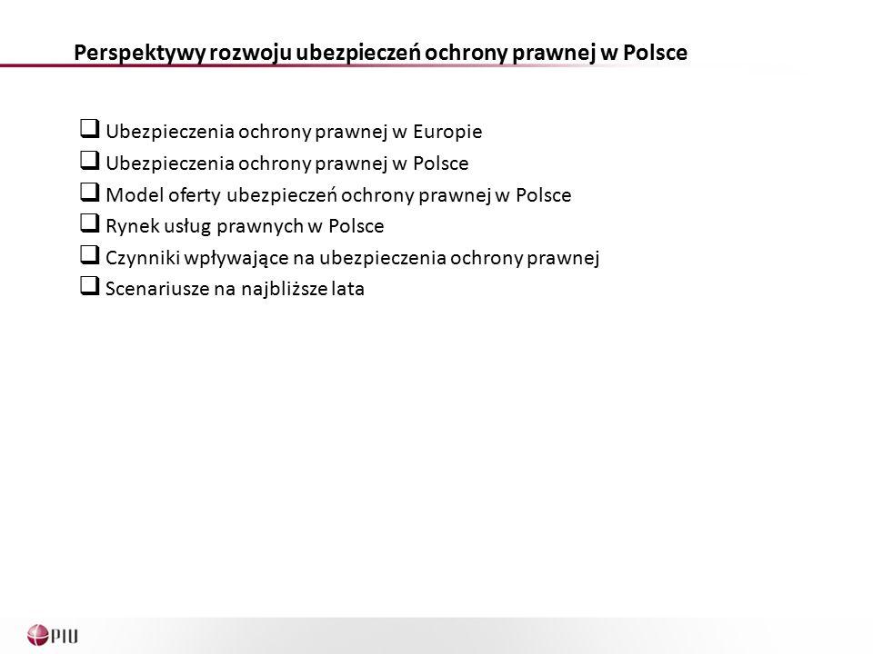 Ubezpieczenia ochrony prawnej w Europie  Ubezpieczenia ochrony prawnej w Polsce  Model oferty ubezpieczeń ochrony prawnej w Polsce  Rynek usług prawnych w Polsce  Czynniki wpływające na ubezpieczenia ochrony prawnej  Scenariusze na najbliższe lata Perspektywy rozwoju ubezpieczeń ochrony prawnej w Polsce