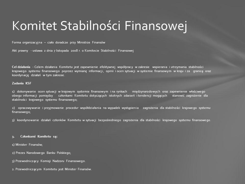 Forma organizacyjna – ciało doradcze przy Ministrze Finansów Akt prawny - ustawa z dnia 7 listopada 2008 r.
