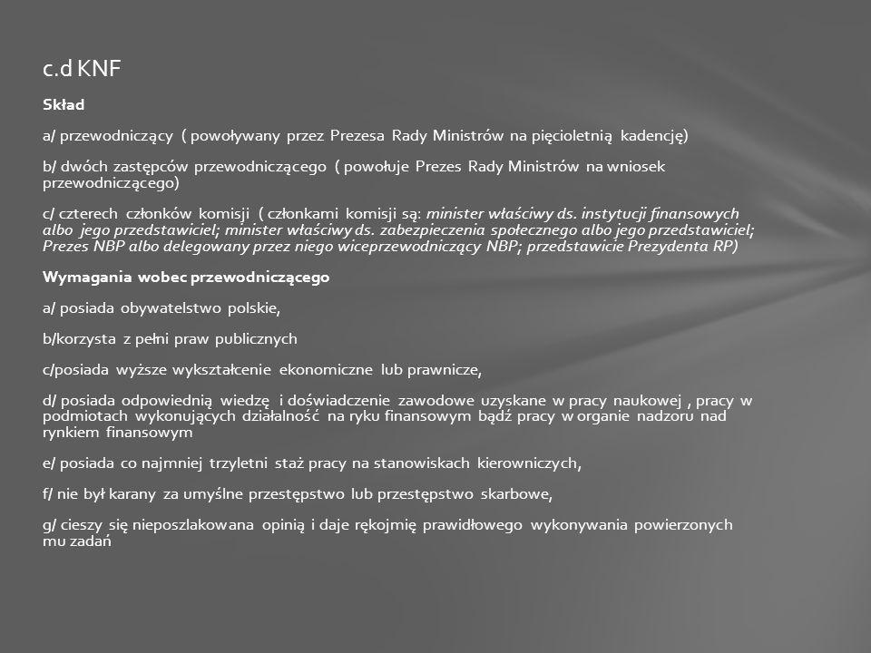 Skład a/ przewodniczący ( powoływany przez Prezesa Rady Ministrów na pięcioletnią kadencję) b/ dwóch zastępców przewodniczącego ( powołuje Prezes Rady Ministrów na wniosek przewodniczącego) c/ czterech członków komisji ( członkami komisji są: minister właściwy ds.