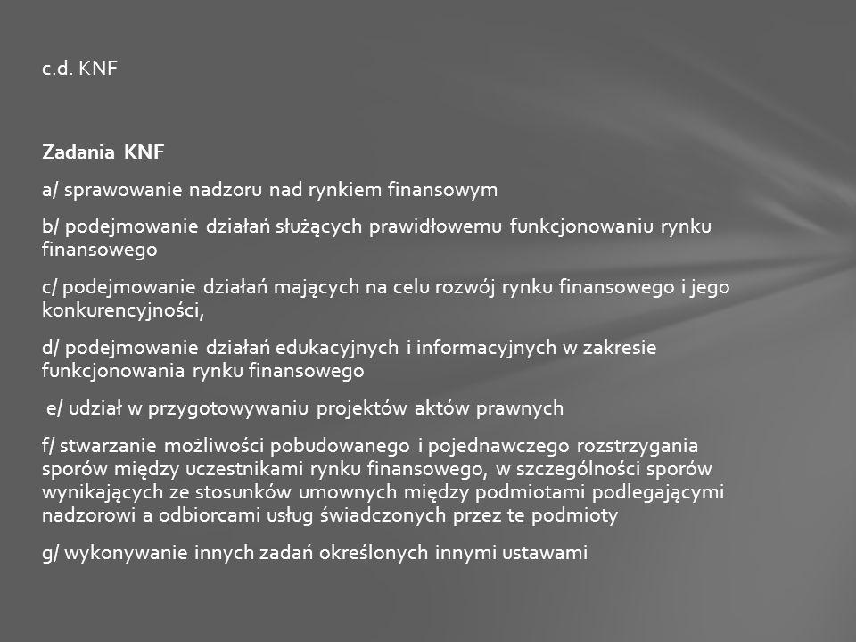Zadania KNF a/ sprawowanie nadzoru nad rynkiem finansowym b/ podejmowanie działań służących prawidłowemu funkcjonowaniu rynku finansowego c/ podejmowanie działań mających na celu rozwój rynku finansowego i jego konkurencyjności, d/ podejmowanie działań edukacyjnych i informacyjnych w zakresie funkcjonowania rynku finansowego e/ udział w przygotowywaniu projektów aktów prawnych f/ stwarzanie możliwości pobudowanego i pojednawczego rozstrzygania sporów między uczestnikami rynku finansowego, w szczególności sporów wynikających ze stosunków umownych między podmiotami podlegającymi nadzorowi a odbiorcami usług świadczonych przez te podmioty g/ wykonywanie innych zadań określonych innymi ustawami c.d.