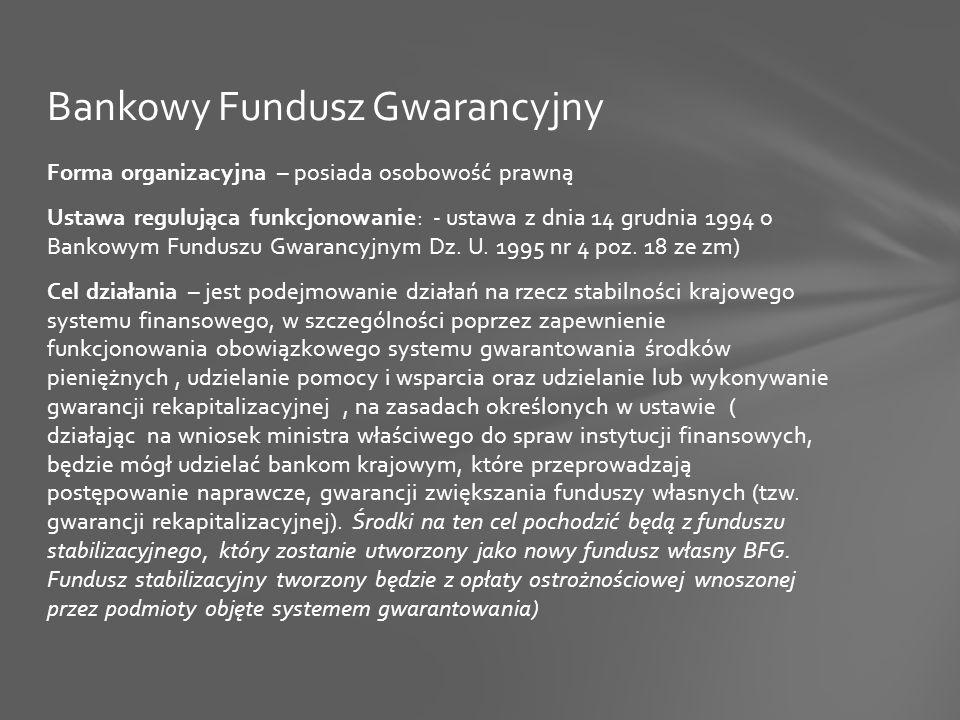 Forma organizacyjna – posiada osobowość prawną Ustawa regulująca funkcjonowanie: - ustawa z dnia 14 grudnia 1994 o Bankowym Funduszu Gwarancyjnym Dz.