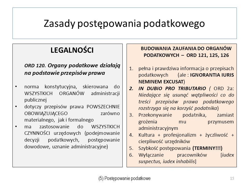 Zasady postępowania podatkowego LEGALNOŚCI ORD 120. Organy podatkowe działają na podstawie przepisów prawa norma konstytucyjna, skierowana do WSZYSTKI