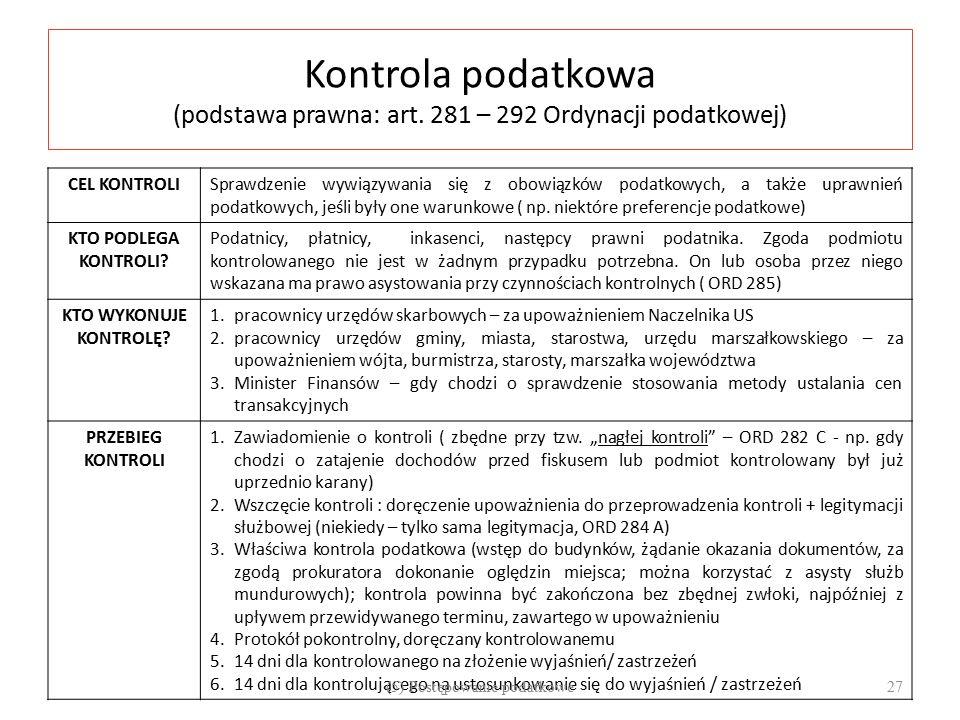 Kontrola podatkowa (podstawa prawna: art.