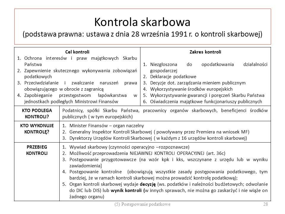 Kontrola skarbowa (podstawa prawna: ustawa z dnia 28 września 1991 r. o kontroli skarbowej) Cel kontroli 1.Ochrona interesów i praw majątkowych Skarbu