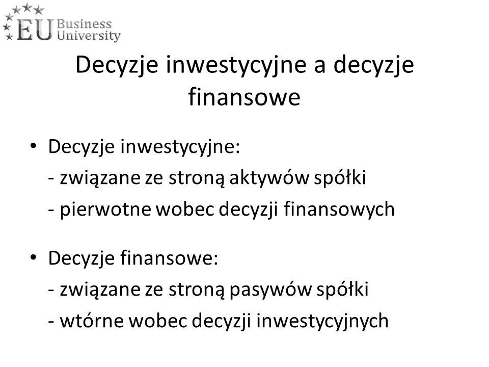 Decyzje inwestycyjne a decyzje finansowe Decyzje inwestycyjne: - związane ze stroną aktywów spółki - pierwotne wobec decyzji finansowych Decyzje finansowe: - związane ze stroną pasywów spółki - wtórne wobec decyzji inwestycyjnych