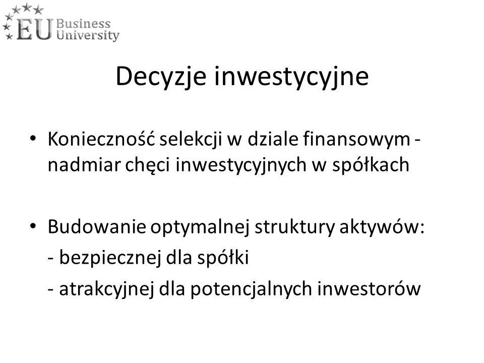 Decyzje inwestycyjne Konieczność selekcji w dziale finansowym - nadmiar chęci inwestycyjnych w spółkach Budowanie optymalnej struktury aktywów: - bezpiecznej dla spółki - atrakcyjnej dla potencjalnych inwestorów