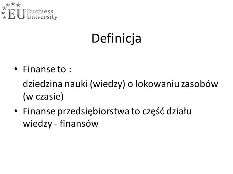 Definicja Finanse to : dziedzina nauki (wiedzy) o lokowaniu zasobów (w czasie) Finanse przedsiębiorstwa to część działu wiedzy - finansów