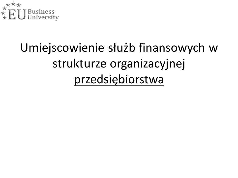 Umiejscowienie służb finansowych w strukturze organizacyjnej przedsiębiorstwa