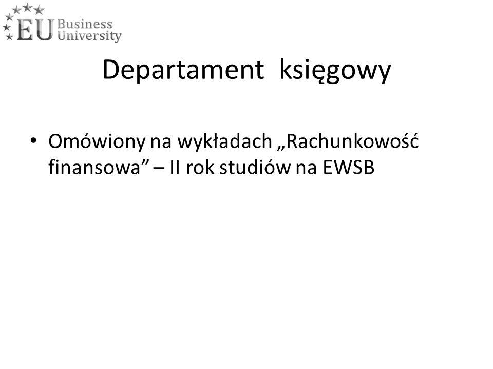 """Departament księgowy Omówiony na wykładach """"Rachunkowość finansowa – II rok studiów na EWSB"""