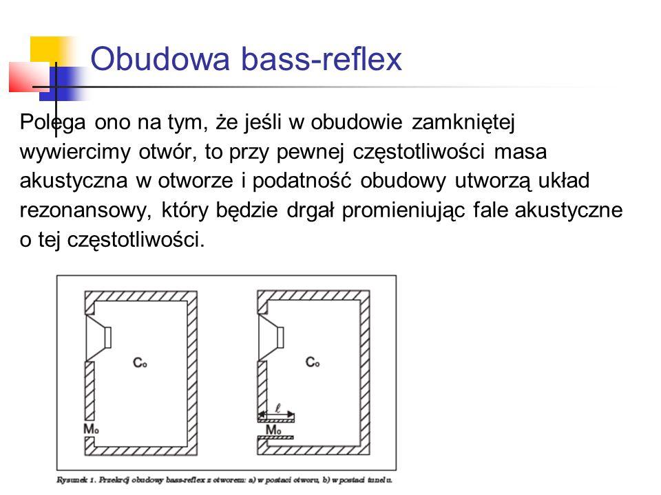 Obudowa bass-reflex Polega ono na tym, że jeśli w obudowie zamkniętej wywiercimy otwór, to przy pewnej częstotliwości masa akustyczna w otworze i poda