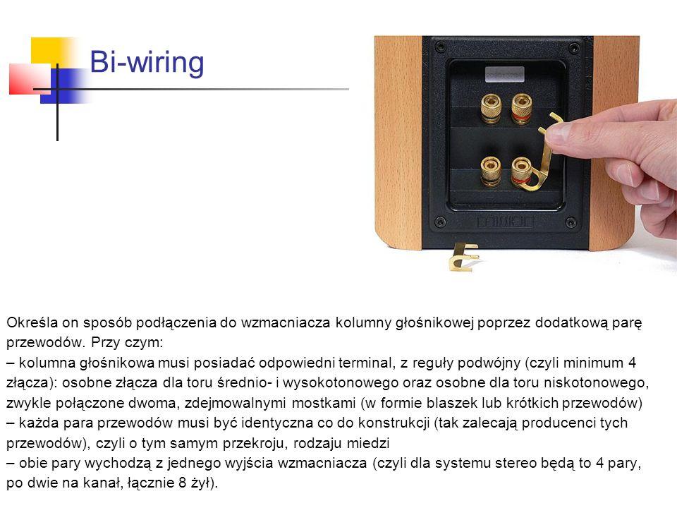 Bi-wiring Określa on sposób podłączenia do wzmacniacza kolumny głośnikowej poprzez dodatkową parę przewodów. Przy czym: – kolumna głośnikowa musi posi