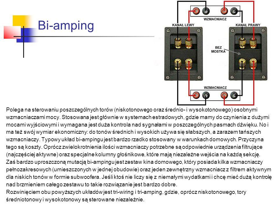 Bi-amping Polega na sterowaniu poszczególnych torów (niskotonowego oraz średnio- i wysokotonowego) osobnymi wzmacniaczami mocy. Stosowana jest głównie