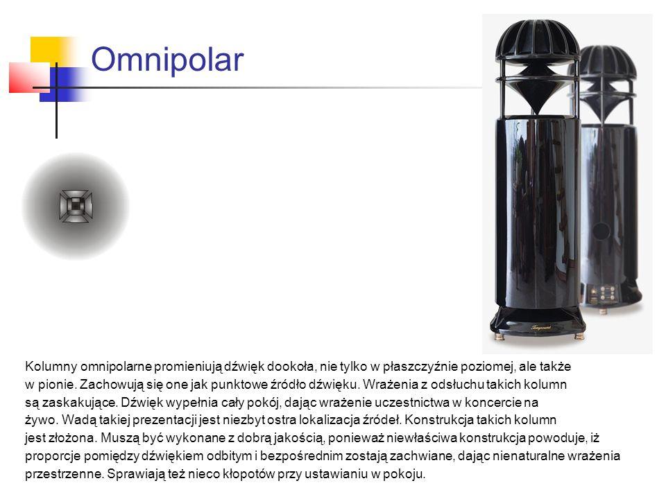 Omnipolar Kolumny omnipolarne promieniują dźwięk dookoła, nie tylko w płaszczyźnie poziomej, ale także w pionie. Zachowują się one jak punktowe źródło