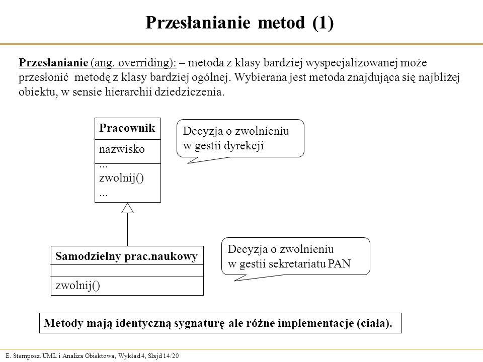 E. Stemposz. UML i Analiza Obiektowa, Wykład 4, Slajd 14/20 Przesłanianie metod (1) Przesłanianie (ang. overriding): – metoda z klasy bardziej wyspecj