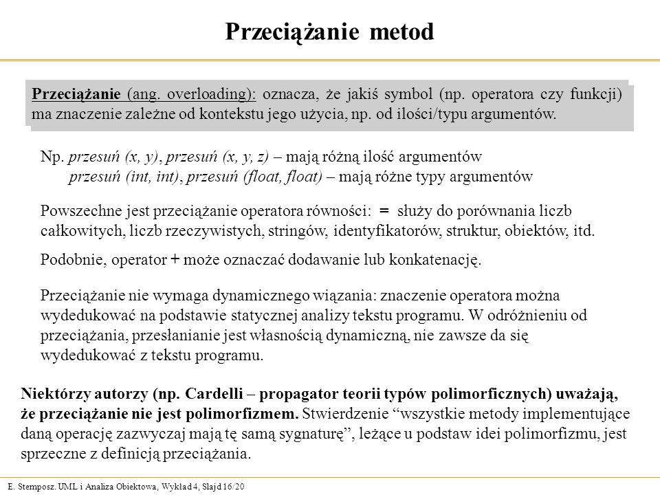 E. Stemposz. UML i Analiza Obiektowa, Wykład 4, Slajd 16/20 Niektórzy autorzy (np. Cardelli – propagator teorii typów polimorficznych) uważają, że prz