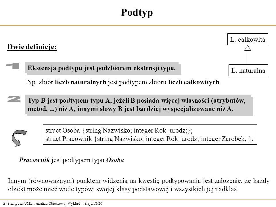 E. Stemposz. UML i Analiza Obiektowa, Wykład 4, Slajd 18/20 Podtyp Dwie definicje: Innym (równoważnym) punktem widzenia na kwestię podtypowania jest z