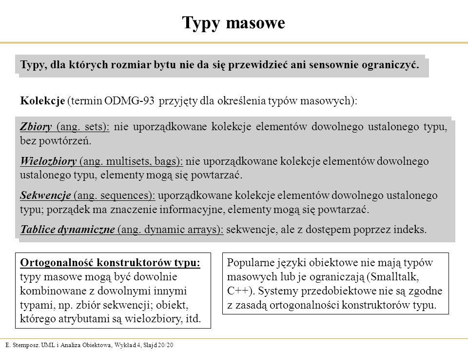 E. Stemposz. UML i Analiza Obiektowa, Wykład 4, Slajd 20/20 Typy masowe Typy, dla których rozmiar bytu nie da się przewidzieć ani sensownie ograniczyć