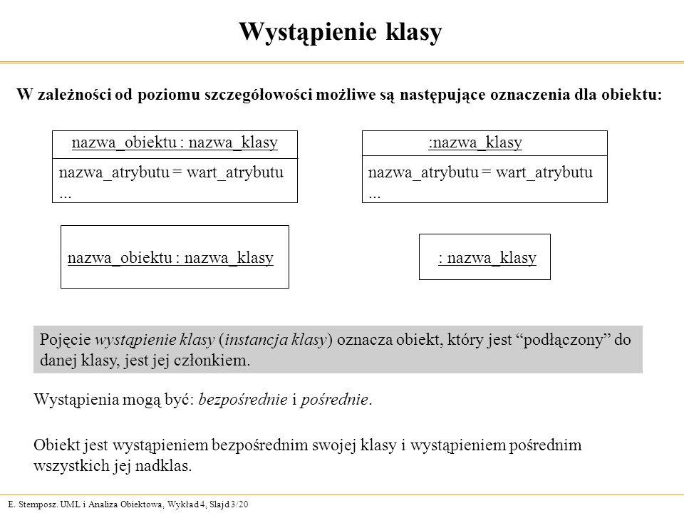 """E. Stemposz. UML i Analiza Obiektowa, Wykład 4, Slajd 3/20 Wystąpienie klasy Pojęcie wystąpienie klasy (instancja klasy) oznacza obiekt, który jest """"p"""
