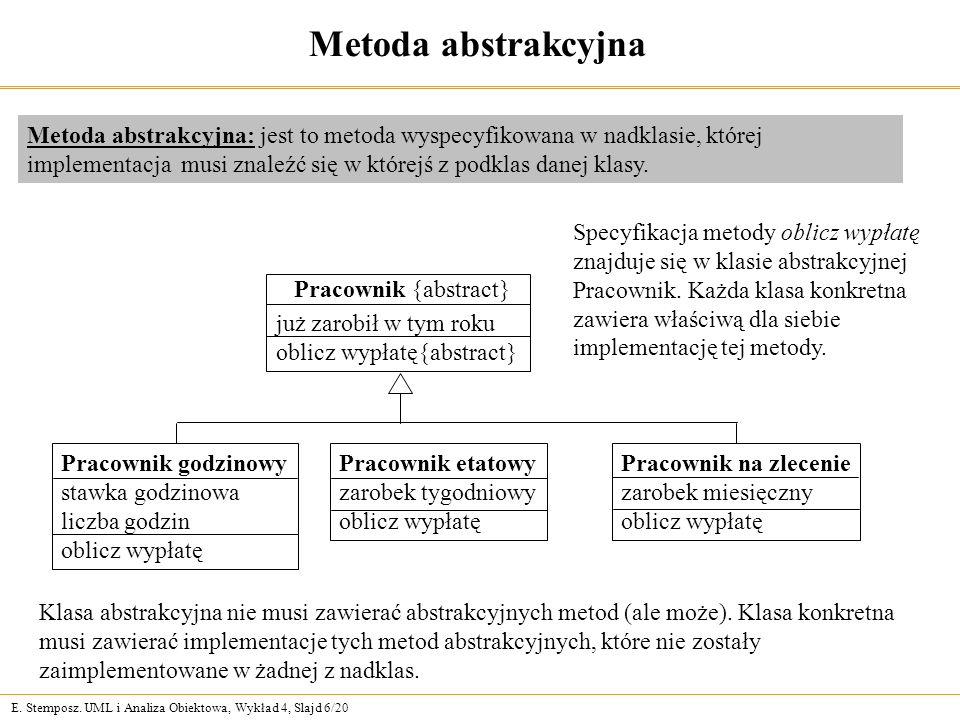 E. Stemposz. UML i Analiza Obiektowa, Wykład 4, Slajd 6/20 Metoda abstrakcyjna Metoda abstrakcyjna: jest to metoda wyspecyfikowana w nadklasie, której