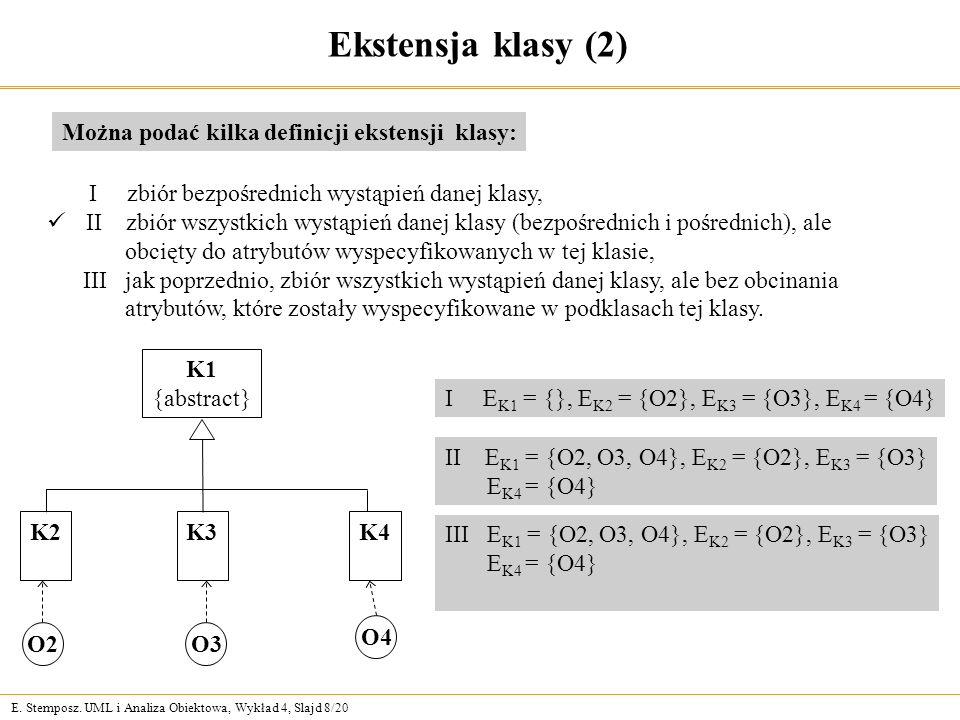 E. Stemposz. UML i Analiza Obiektowa, Wykład 4, Slajd 8/20 Ekstensja klasy (2) Można podać kilka definicji ekstensji klasy: I zbiór bezpośrednich wyst
