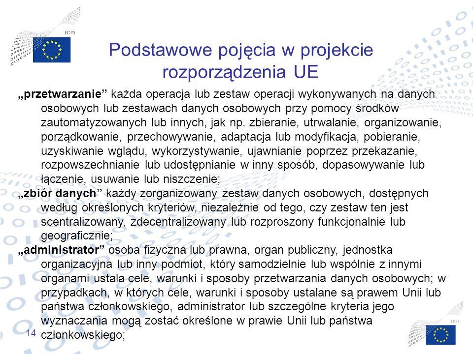 """14 Podstawowe pojęcia w projekcie rozporządzenia UE """"przetwarzanie"""" każda operacja lub zestaw operacji wykonywanych na danych osobowych lub zestawach"""