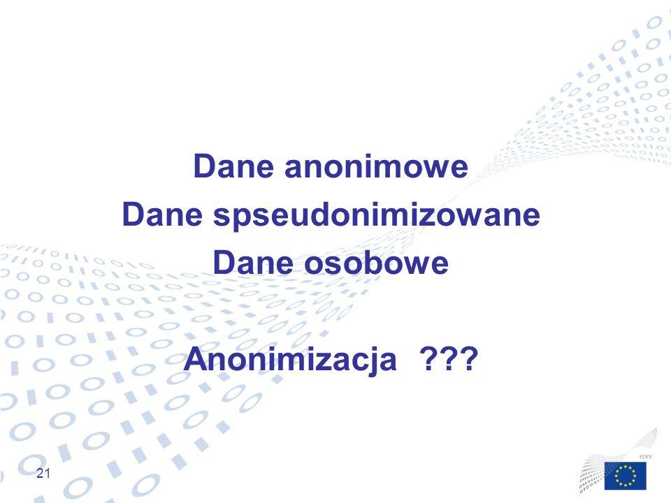 21 Dane anonimowe Dane spseudonimizowane Dane osobowe Anonimizacja ???