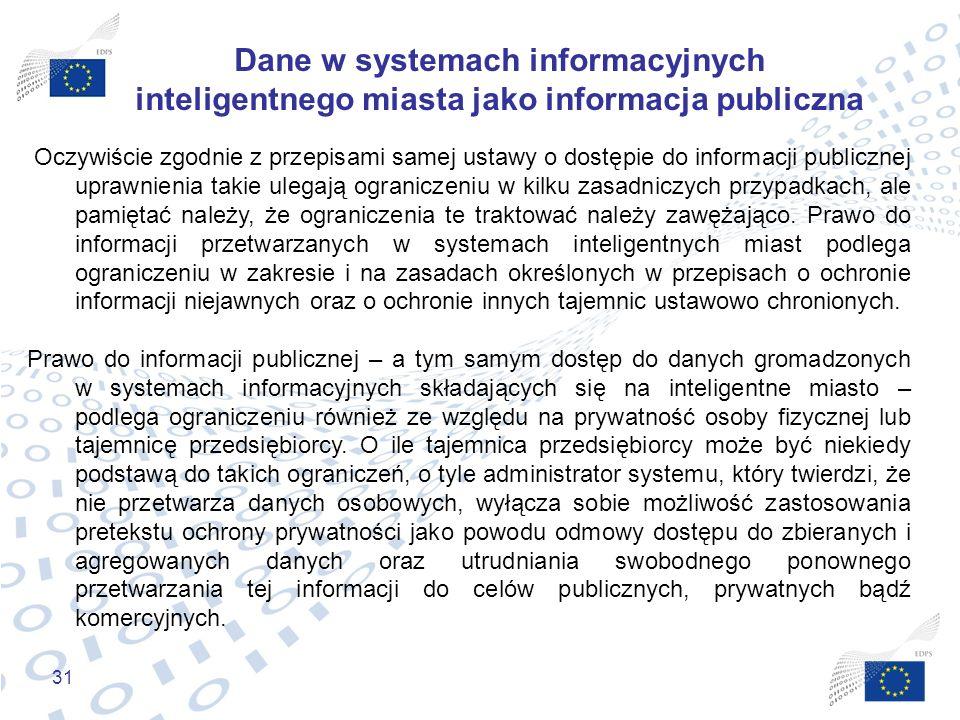 31 Dane w systemach informacyjnych inteligentnego miasta jako informacja publiczna Oczywiście zgodnie z przepisami samej ustawy o dostępie do informac