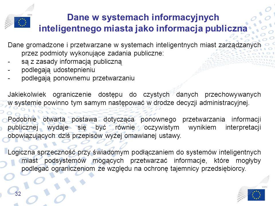 32 Dane w systemach informacyjnych inteligentnego miasta jako informacja publiczna Dane gromadzone i przetwarzane w systemach inteligentnych miast zar