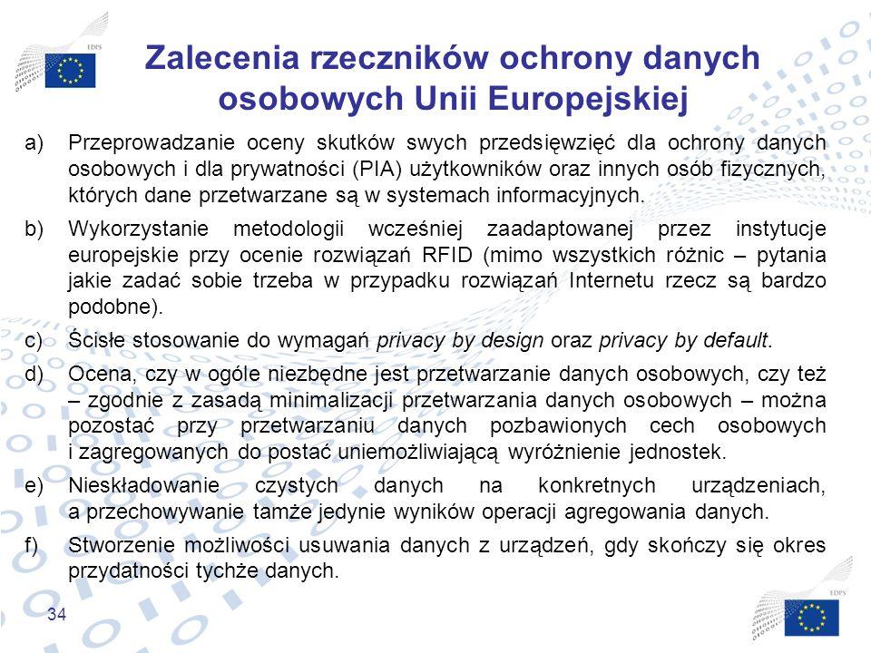 34 Zalecenia rzeczników ochrony danych osobowych Unii Europejskiej a)Przeprowadzanie oceny skutków swych przedsięwzięć dla ochrony danych osobowych i