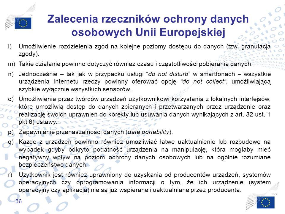 36 Zalecenia rzeczników ochrony danych osobowych Unii Europejskiej l)Umożliwienie rozdzielenia zgód na kolejne poziomy dostępu do danych (tzw. granula