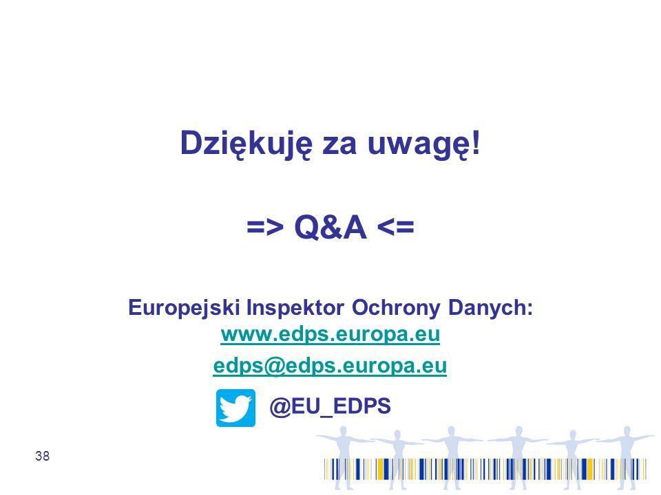 38 Dziękuję za uwagę! => Q&A <= Europejski Inspektor Ochrony Danych: www.edps.europa.eu www.edps.europa.eu edps@edps.europa.eu @EU_EDPS