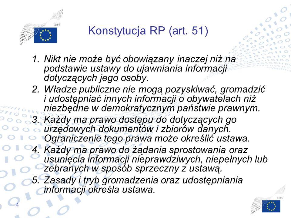 4 Konstytucja RP (art. 51) 1.Nikt nie może być obowiązany inaczej niż na podstawie ustawy do ujawniania informacji dotyczących jego osoby. 2.Władze pu