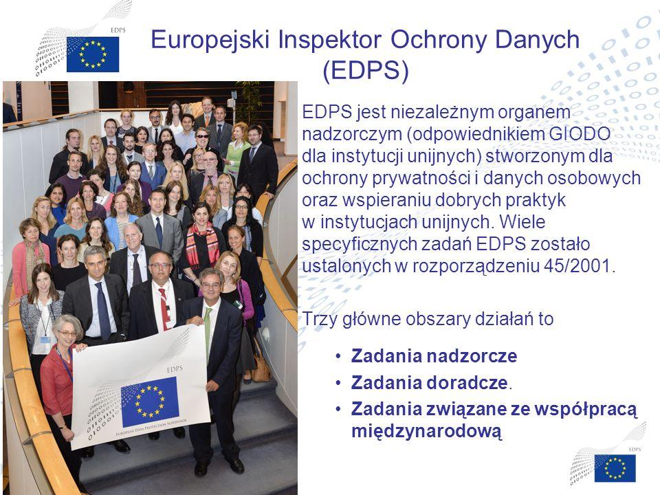 5 5 Europejski Inspektor Ochrony Danych (EDPS) EDPS jest niezależnym organem nadzorczym (odpowiednikiem GIODO dla instytucji unijnych) stworzonym dla