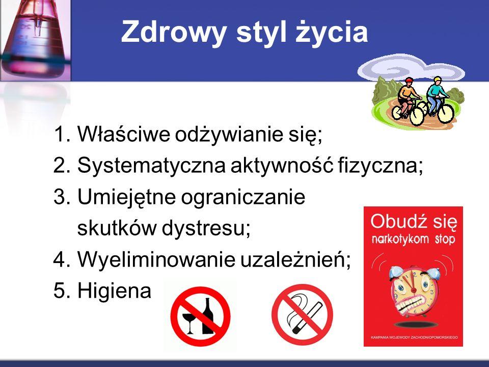 Zdrowy styl życia 1. Właściwe odżywianie się; 2. Systematyczna aktywność fizyczna; 3.