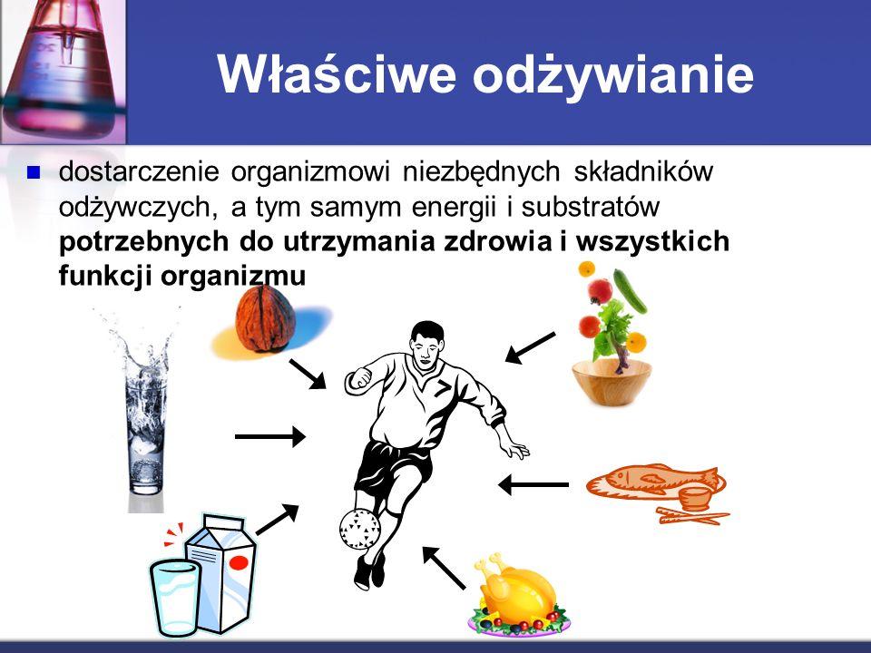 Właściwe odżywianie dostarczenie organizmowi niezbędnych składników odżywczych, a tym samym energii i substratów potrzebnych do utrzymania zdrowia i wszystkich funkcji organizmu