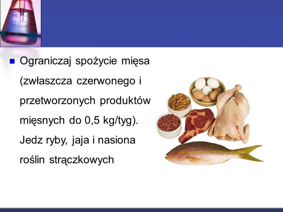 Ograniczaj spożycie mięsa (zwłaszcza czerwonego i przetworzonych produktów mięsnych do 0,5 kg/tyg).