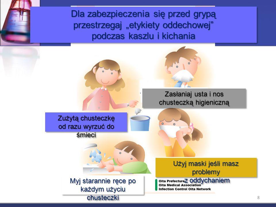 """Dla zabezpieczenia się przed grypą przestrzegaj """"etykiety oddechowej podczas kaszlu i kichania Dla zabezpieczenia się przed grypą przestrzegaj """"etykiety oddechowej podczas kaszlu i kichania Zasłaniaj usta i nos chusteczką higieniczną Zasłaniaj usta i nos chusteczką higieniczną Zużytą chusteczkę od razu wyrzuć do śmieci Użyj maski jeśli masz problemy z oddychaniem z oddychaniem Użyj maski jeśli masz problemy z oddychaniem z oddychaniem Myj starannie ręce po każdym użyciu chusteczki 8"""
