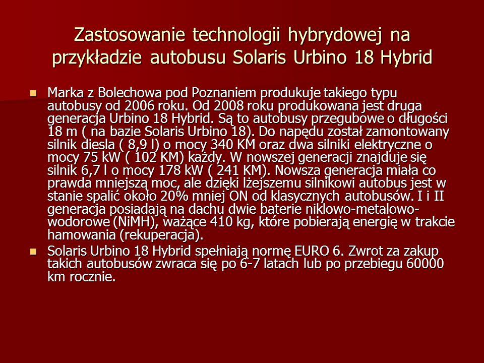 Zastosowanie technologii hybrydowej na przykładzie autobusu Solaris Urbino 18 Hybrid Marka z Bolechowa pod Poznaniem produkuje takiego typu autobusy od 2006 roku.