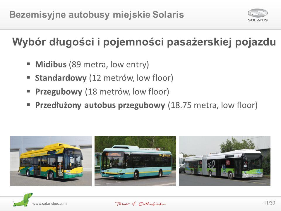 11/30 Wybór długości i pojemności pasażerskiej pojazdu  Midibus (89 metra, low entry)  Standardowy (12 metrów, low floor)  Przegubowy (18 metrów, l