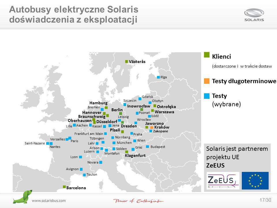 17/30 Solaris jest partnerem projektu UE ZeEUS Kraków Västerås Klagenfurt Düsseldorf Braunschweig Plzeň Hamburg München Frankfurt am Main Paris Dresde