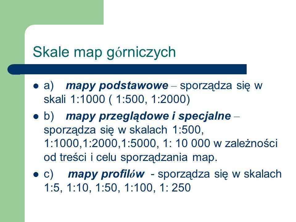 Skale map g ó rniczych a) mapy podstawowe – sporządza się w skali 1:1000 ( 1:500, 1:2000) b) mapy przeglądowe i specjalne – sporządza się w skalach 1:
