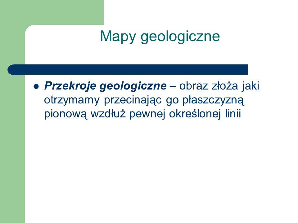Mapy geologiczne Przekroje geologiczne – obraz złoża jaki otrzymamy przecinając go płaszczyzną pionową wzdłuż pewnej określonej linii