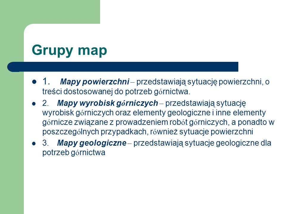 Grupy map 1. Mapy powierzchni – przedstawiają sytuację powierzchni, o treści dostosowanej do potrzeb g ó rnictwa. 2. Mapy wyrobisk g ó rniczych – prze