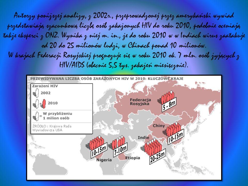 Autorzy poniższej analizy, z 2002r., przeprowadzonej przez amerykański wywiad przedstawiają szacunkową liczbę osób zakażonych HIV do roku 2010, podobn