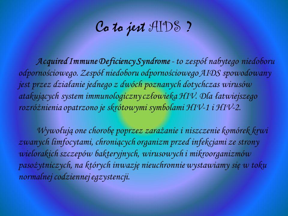 Co to jest AIDS ? Acquired Immune Deficiency Syndrome - to zespół nabytego niedoboru odpornościowego. Zespół niedoboru odpornościowego AIDS spowodowan