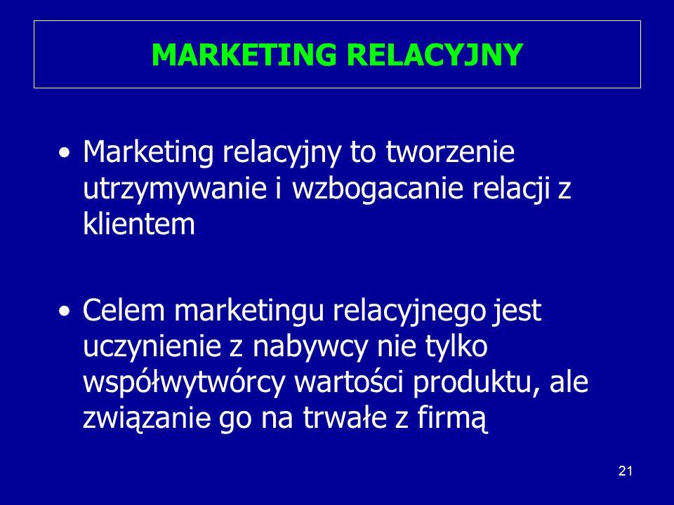 21 MARKETING RELACYJNY Marketing relacyjny to tworzenie utrzymywanie i wzbogacanie relacji z klientem Celem marketingu relacyjnego jest uczynienie z n