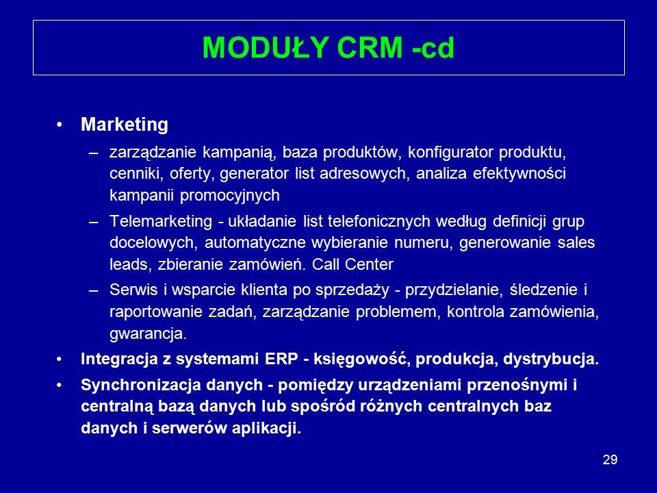 29 MODUŁY CRM -cd Marketing –zarządzanie kampanią, baza produktów, konfigurator produktu, cenniki, oferty, generator list adresowych, analiza efektywn