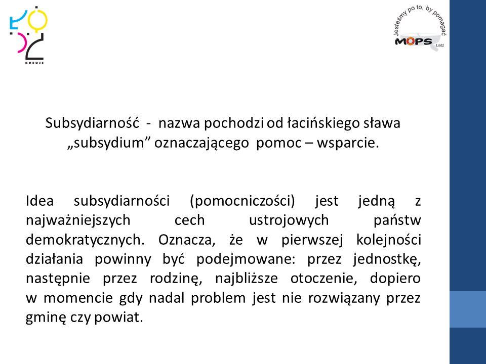 """Subsydiarność - nazwa pochodzi od łacińskiego sława """"subsydium oznaczającego pomoc – wsparcie."""