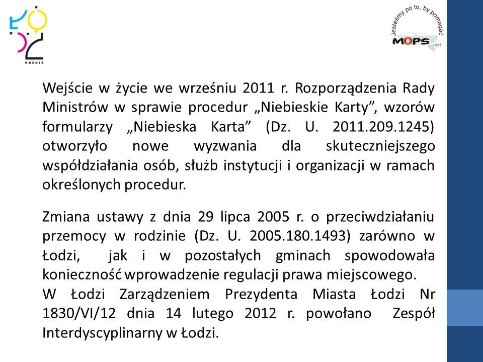 """Wejście w życie we wrześniu 2011 r. Rozporządzenia Rady Ministrów w sprawie procedur """"Niebieskie Karty"""", wzorów formularzy """"Niebieska Karta"""" (Dz. U. 2"""