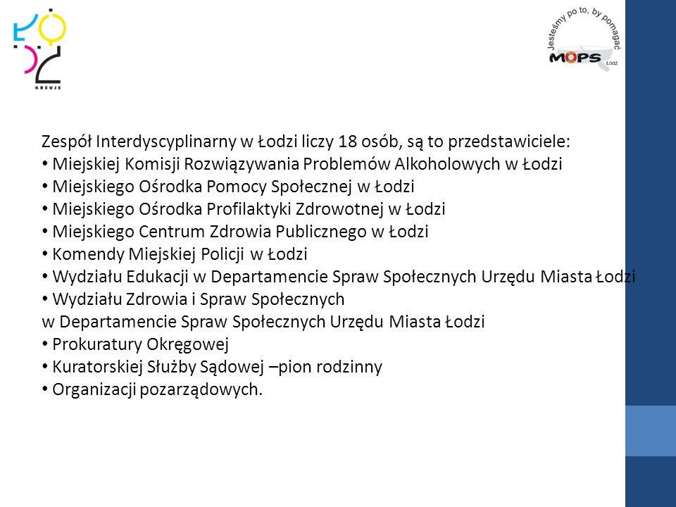 Zespół Interdyscyplinarny w Łodzi liczy 18 osób, są to przedstawiciele: Miejskiej Komisji Rozwiązywania Problemów Alkoholowych w Łodzi Miejskiego Ośro